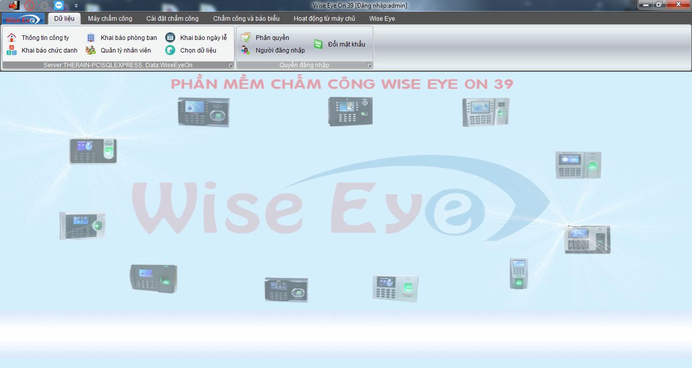 giao diện phần mềm chấm công wise eye on39