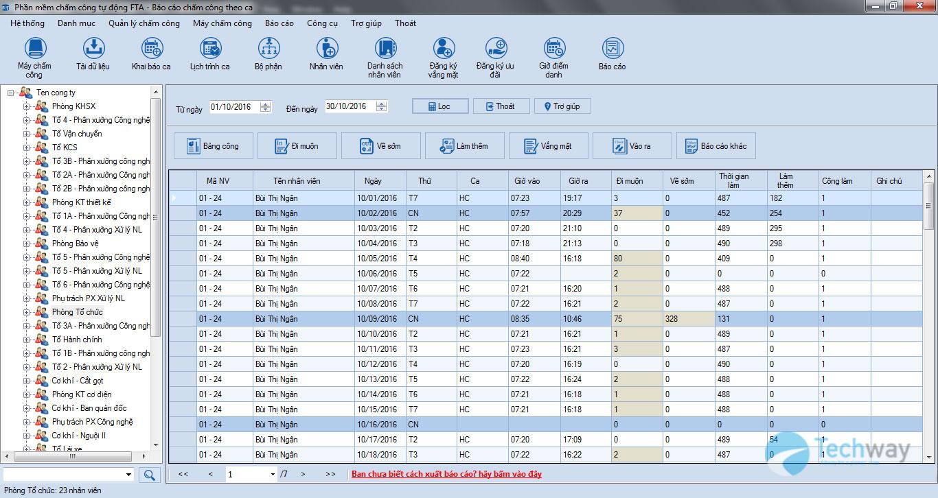 Phần mềm chấm công tự động FTA 2.2